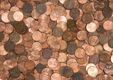Moedas de um centavo lisas da configuração Imagem de Stock