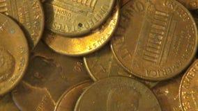 Moedas de um centavo, moedas, dinheiro, moeda vídeos de arquivo