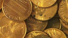 Moedas de um centavo, moedas, dinheiro, moeda video estoque