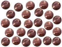 Moedas de um centavo no fundo branco Imagens de Stock