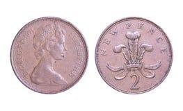 Moedas de um centavo novas da moeda de Inglaterra foto de stock