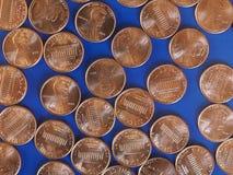 Moedas de um dólar do centavo, Estados Unidos Foto de Stock