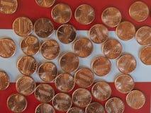 Moedas de um dólar do centavo, Estados Unidos Imagens de Stock