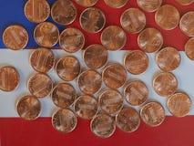 Moedas de um dólar do centavo, Estados Unidos Foto de Stock Royalty Free