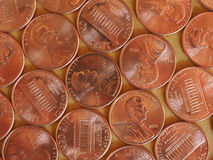 Moedas de um dólar do centavo, Estados Unidos Fotos de Stock