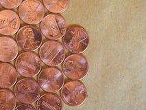 Moedas de um dólar do centavo, Estados Unidos Imagem de Stock