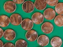 Moedas de um dólar do centavo, Estados Unidos Fotografia de Stock