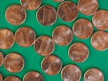 Moedas de um dólar do centavo, Estados Unidos Imagens de Stock Royalty Free