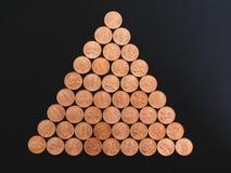 Moedas de um dólar do centavo, Estados Unidos sobre o preto Fotos de Stock Royalty Free