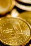 Moedas de um ouro de Estados Unidos da América do dólar Fotos de Stock Royalty Free