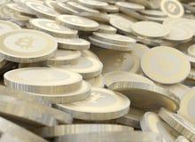 Moedas digitais da moeda da criptografia dourada de Bitcoin Imagem de Stock Royalty Free