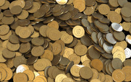 Moedas digitais da moeda da criptografia dourada de Bitcoin Fotos de Stock