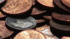 Moedas, dinheiro, moeda video estoque