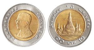 Moedas do baht de Tailândia Imagens de Stock Royalty Free