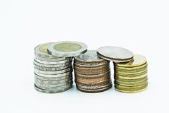 10, 5, 2 moedas do baht tailandês Imagens de Stock