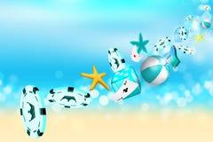 Moedas do casino, estrela de mar e bola de praia voando para fora Fotografia de Stock