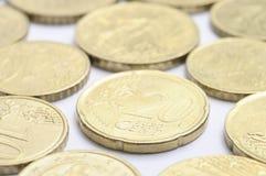 Moedas do centavo dos euro Foto de Stock