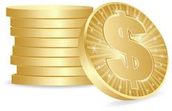 Moedas do dólar Imagem de Stock