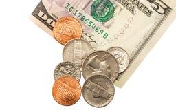Moedas do dólar americano Foto de Stock
