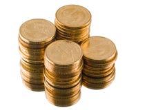 Moedas do dólar americano do ouro isoladas Imagem de Stock