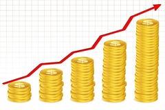 Moedas do dólar com seta do growh ilustração do vetor