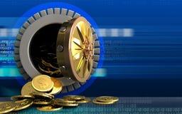 moedas do dólar 3d sobre o cyber Fotos de Stock