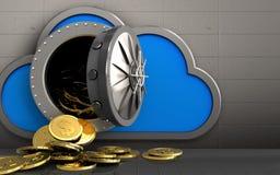 moedas do dólar 3d sobre a parede do ferro Imagens de Stock