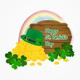 Moedas do dia de St Patrick do fundo do ouro, do chapéu e do arco-íris Ilustração do vetor Imagens de Stock Royalty Free