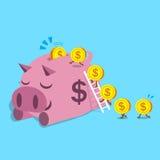 Moedas do dinheiro dos desenhos animados que correm para picar leitão Foto de Stock