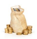Moedas do dinheiro no saco Fotografia de Stock