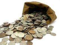 Moedas do dinheiro no saco Imagem de Stock Royalty Free