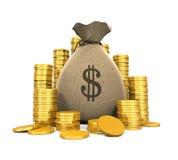 Moedas do dinheiro no saco Imagens de Stock