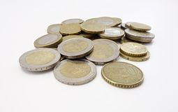Moedas do Euro dispersadas Fotografia de Stock Royalty Free
