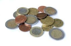 Moedas do euro do dinheiro Fotografia de Stock