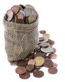 Moedas do Euro em um saco pequeno Fotografia de Stock