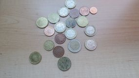 Moedas do Euro EUR fotografia de stock