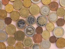 Moedas do Euro, fundo da União Europeia Fotos de Stock Royalty Free