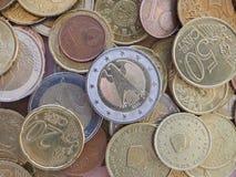 Moedas do Euro, fundo da União Europeia Fotos de Stock