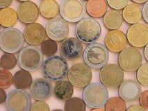 Moedas do Euro, fundo da União Europeia Fotografia de Stock Royalty Free