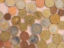 Moedas do Euro, fundo da União Europeia Imagens de Stock Royalty Free
