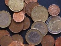 Moedas do Euro, fundo da União Europeia Imagens de Stock