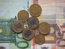 Moedas do Euro liberadas por Letónia imagem de stock royalty free
