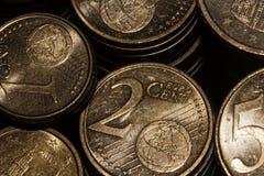 Moedas do Euro no isolamento Imagem de Stock Royalty Free