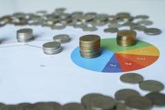 Moedas do gráfico e do dinheiro na tabela Foto de Stock