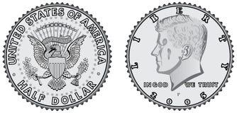 Moedas do metal - meio dólar Ilustração do Vetor