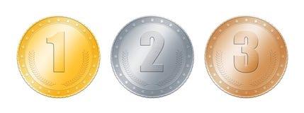 Moedas do ouro, do prata, as de bronze ou medalhas sobre o branco Foto de Stock Royalty Free