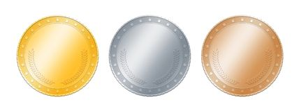 Moedas do ouro, do prata, as de bronze ou medalhas sobre o branco imagens de stock royalty free