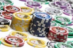Moedas do póquer isoladas Imagens de Stock