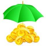 Moedas do vetor sob o guarda-chuva. Imagens de Stock