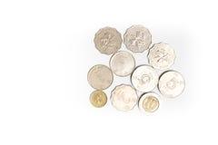 Moedas dos dólares de Hong Kong isoladas Fotografia de Stock Royalty Free
